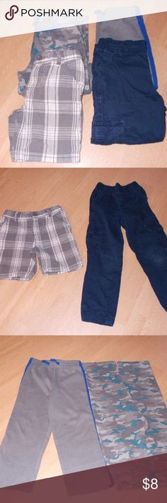 5/$20 in bundle 4 piece bottoms boys 5T Assorted lot of boys 5T bottoms including:  -Healthtex camo sweat pants cotton/poly blend -Healthtex gray sweat pants w/royal blue stripe cotton/poly blend -Sonoma navy blue 100% cotton cargo pants -Sonoma gray 100% cotton plaid shorts  See photos for details. Smoke free, pet friendly home.   Please message me with any questions. Ask if additional size detail is needed.   15% discount for 3+ item bundles. Check out my closet. Happy Poshing!  804/L…