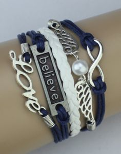 Infinity, Wings, Believe, Love Wrap Bracelet – Blue/White  $15.00  Fashion Jewelry at Modest Prices - www.gomodestly.com