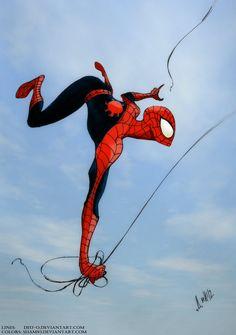 Spider-man colors by shamserg Comic Book Characters, Marvel Characters, Comic Character, Comic Books Art, Comic Art, Character Design, Marvel Comics Art, Anime Comics, Marvel Heroes