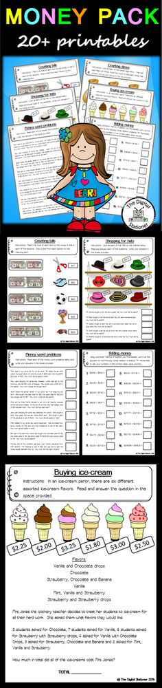 $2 - Money problems -  20+ worksheets printables maths teaching resources