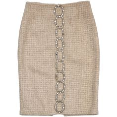Pre-owned Tracy Reese Tan Embellished Tweed Suit Skirt (5.600 RUB) ❤ liked on Polyvore featuring skirts, pink tweed skirt, tracy reese, pink skirt, pink sequin skirt and embellished skirt