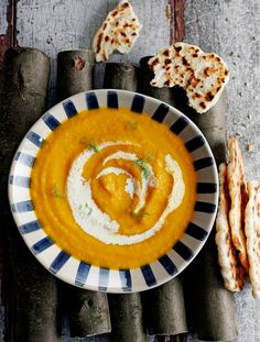 Roast carrot & fennel soup with simple flatbreads  A sweet and aromatic soup with super-easy flatbreads for dunking