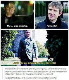 "He's probably never gotten a compliment in his life besides the ones John gives him. Mycroft's always been a jerk (""'Don't be smart, Sherlock. I'm the smart one.'"") and everyone else hated him (""We hated him.""). (Johnlock)"