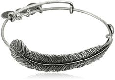 "Alex and Ani Earth Sultry ""Plume Feather"" Bangle Bracelet, 7.75"""