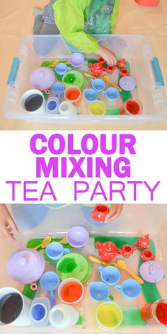 Colour Mixing Tea Party Sensory Bin for Kids   HAPPY TODDLER PLAYTIME Check out this fun way to learn and explore primary colours by mixing up a pot of colourful tea! Create new colours and have a rainbow tea party! #sensoryplay #toddler #preschooler