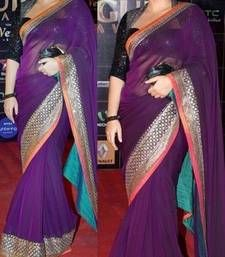Buy Vidya Balan Purple Heavy Stylish designer saree with blouse bollywood-saree online