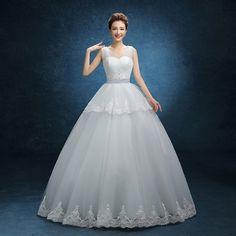 >> Click to Buy << Free Shipping 2017 New Arrival Romantic White Wedding Dress Cheap Fashion Wedding Gown Bride Wedding Vestidos De Novia #Affiliate