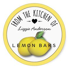 Lemon Yellow Modern From the Kitchen of Label Round Stickers