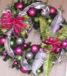Christmas Wreath Pink Lime Silver Dazzling by TheJourneyAccents, $56.97