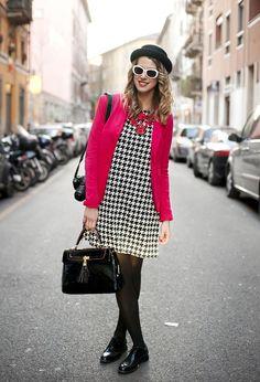 Last day of MFW #fashion #style: fluo-black and white  , Topshop en Sombreros, Zara en Blazers, H&M en Vestidos, Lanvin en Otras joyas / Bisutería, Aldo en Bolsos