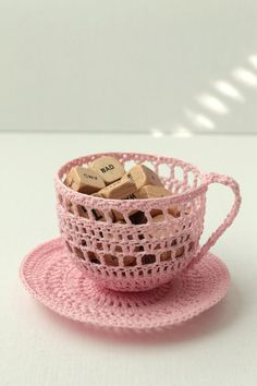 pink teacup | crocheted pink teacup