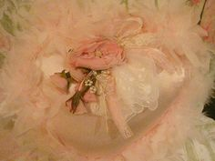 Pink Satin and Feather Heart Pillow