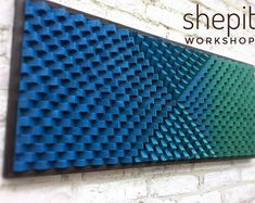 Handcrafted Turquoise Blue Wood Wall Art with frame / Sound Diffuser Panel This piece is made from pine wood and colored in Turquoise and Blue. Wood Wall Art Decor, Large Wood Wall Art, Rustic Wall Art, 3d Wall Art, Coastal Wall Art, Wood Art, Blue Wood, Grey Wood, Art Mural Rustique