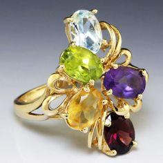 Estate 3.50ctw Peridot, Amethyst Citrine, Aqua & Garnet Ring in 14kt Yellow Gold