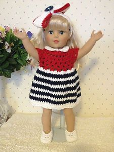 "American Girl Doll Clothes - Patriotic Crocheted Dress Ensemble to Fit 18"" Dolls - Dress, Shoes, Hair Bow"
