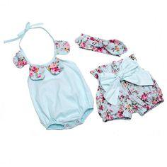Newborn Baby Girls Ropa de Verano de Algodón Flor de La Muchacha de Los Mamelucos + Short Pant + Vendas de Las Muchachas Con Volantes Ropa de Bebé Recién Nacido Niño