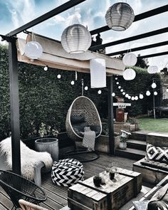 gardens lounge Add ambiance and character to a store bought pergola in your backyard by adding . Add ambiance and character to a store bought pergola in your backyard by adding string lighting, lanterns, and layers of boho black and white accessories! Patio Pergola, Diy Patio, Backyard Patio, Backyard Landscaping, Patio Ideas, Budget Patio, Patio Stone, Patio Privacy, Flagstone Patio