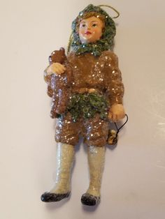 Bethany Lowe Retired Old Fashioned Christmas Ornament Boy Holding Bell & Bear #BethanyLowe