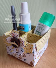 Fabric box made using the scallop envelope die from Stampin Up by Michelle Last www.michellelast.typepad.co.uk