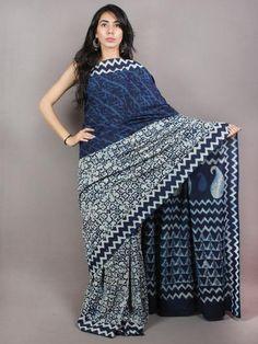 Indigo Cotton Hand Block Printed Saree in Natural Colors - S03170738