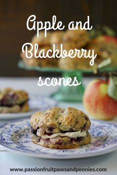 These Apple and Blackberry Scones are light, fluffy and stuffed full of fresh fruit! This recipe is feather light, delicious, egg free and rustic looking. Blackberry Scones, Fruit Scones, Blackberry Recipes, Egg Recipes, Sweet Recipes, Yummy Recipes, Perfect Scones Recipe, Good Food, Yummy Food