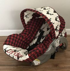 Thanks for stopping by my shop! Ships in 2 weeks. This car seat cover easily slips on your existing car seat cover. Leave your padded seat cover Car Seat Accessories, Baby Accessories, Baby Boy Rooms, Baby Boy Nurseries, Baby Boy Haircuts, Baby Cover, Baby Boy Gifts, Woodland Animals, Red Plaid
