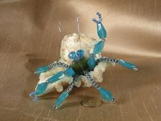 Hermit Crab in Seashell Handmade Blue Glass Bead by BaublesNBugs, $15.99