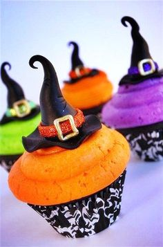 colored witch cupcakes