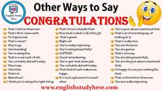 New Ways to Say Congratulations! Other Ways To Say Congratulations in English, Synonyms for congratulations; That's better than ever. That's first class English Vocabulary Words, English Phrases, Learn English Words, English Study, English English, English Grammar, English Writing Skills, English Lessons, Esl Lessons