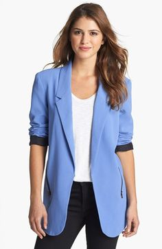 Kenneth Cole New York 'Hermia' Zipper Detail Open Front Blazer available at #Nordstrom