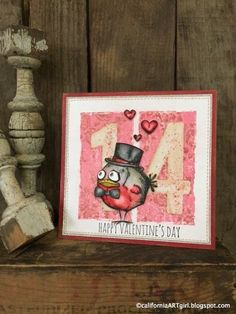 Are you still CRAZY over the Tim Holtz Crazy stamps? They just make me happy every time I see them. Crazy Bird, Crazy Dog, Crazy Cats, Valentine Love Cards, Valentine Crafts, Valentine Ideas, Dog Cards, Bird Cards, Card Making Inspiration