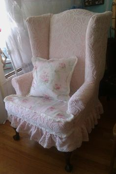 pink shabby chic slipcovered wingback chair ruffle cottage prairie vintage…