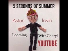 Rainbow Loom Ashton Irwin figures- 5 Seconds Of Summer - 5SOS ! Charms / Gomitas. Tutorial is Now on YouTube! Gomas. Please Subscribe ❤️❤ m.youtube.com/user/LoomingWithCheryl