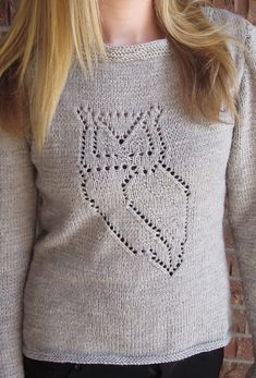 "Knitting Pattern for Nocturnal Pullover - This boat neck long sleeved sweater features a lace owl motif. Sizes 35 (39, 43, 46½, 50½)"" bust circumference. Designed by Cassie Castillo"
