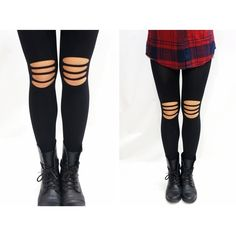 Knee Ripped Rocker Tights ($8.90) via Polyvore featuring intimates, hosiery, tights, ripped tights, ripped stockings and torn tights