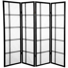 Oriental Furniture 5 ft. Tall Double Cross Shoji Screen - 4 Panel - Black
