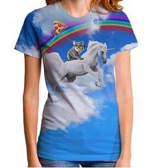Koalas, licornes et pizza cerfs-volants... oh mon ! Vous les trouverez tout de suite cette rainbow ride dans le ciel.  Ultra doux t-shirt montrant un