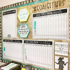 Thanking my past self for putting this together this summer. Tracking data and goals this year is going to be a piece of cake! If you're interested in the data posters on this board and the student pages that go with it, they are included in 5th Grade Classroom, Middle School Classroom, New Classroom, Classroom Themes, Classroom Organization, Classroom Management, Classroom Data Wall, Classroom Design, Classroom Agenda Board