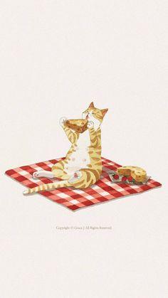 Cat Wallpaper, Animal Wallpaper, Pink Cat, Cat Tattoo, Cat Drawing, Cute Illustration, Crazy Cats, Animal Drawings, Cat Art