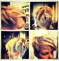 Latest transition razor cut and color on Rosaline's assistant Lacey as she grows her pixie cut out! Styled with the new Davines More Inside Dry Wax #RosalineHampton #Davines #MoreInside #pixie