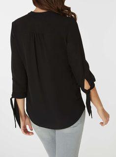 Womens Black Tie Cuff Shirt- Black