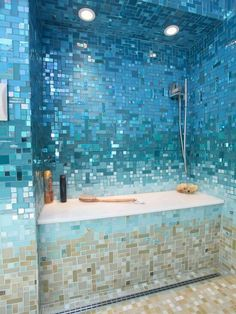 Ocean blue tiles in bathroom