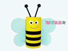 Пчела из втулки от туалетной бумаги