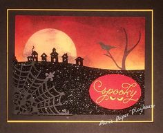 Spooky Halloween card using SU thinlet die and Among the Branches stamp set, by Pam's Paper Playhouse.