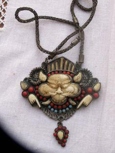 Tibet  stunning antique brass pendant necklace  by beadartaustria, $225.00