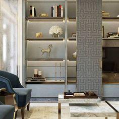 33 gorgeous living room shelving design ideas for copy 23 Living Room Shelves, Living Room Decor, Home Office Design, House Design, Living Tv, Balkon Design, Design Salon, Shelving Design, Luxury Decor