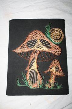 Vintage Mushroom Snail Nail String Art Wall Hanging