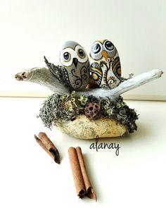 Taş boyama  baykuşlar rocks painting owl