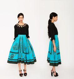 1950s Mayan Skirt . Mexican Circle Skirt . 50s Midi Skirt