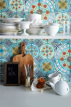 beautiful moroccan inspired tiles in kitchen